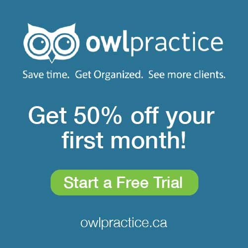 OwlPractice badge for a save 50% off your first month trial promotion